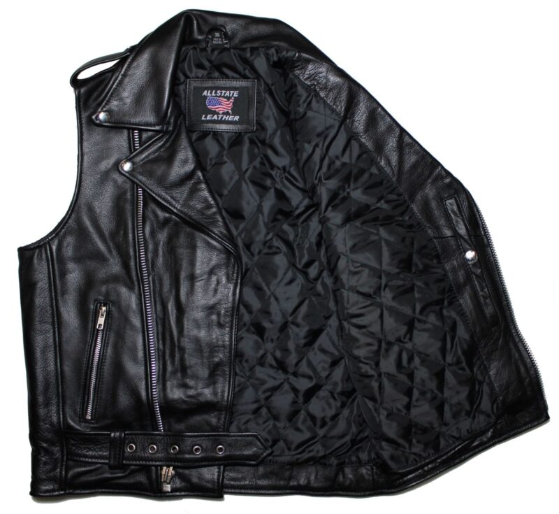 Black Buffalo Leather Biker Vest 2