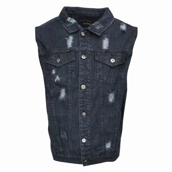 Black Distressed Denim Vest