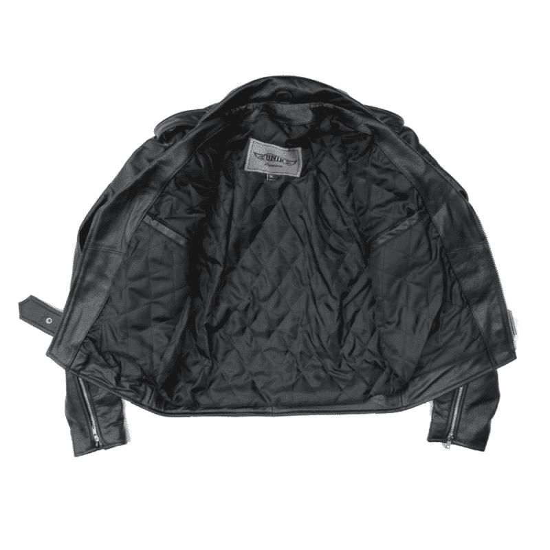 Black Buffalo Leather Belted Biker Jacket 2