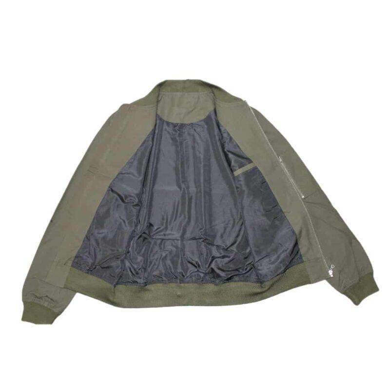 Olive Bomber Jacket with Side Zip Pocket 1