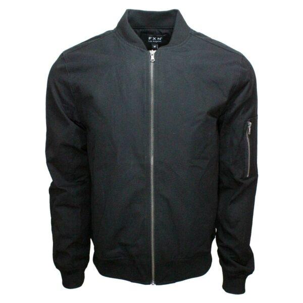 Black Bomber Jacket with Side Zip Pocket
