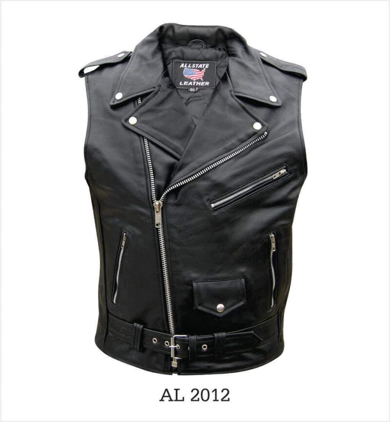 Black Buffalo Leather Biker Vest 5