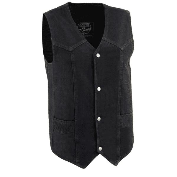 Plain Black Denim Vest by Milwaukee Leather