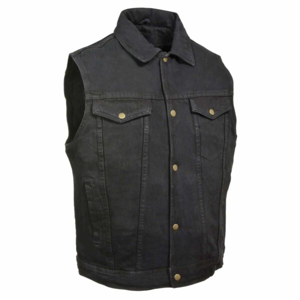 Black Denim Biker Vest with Collar