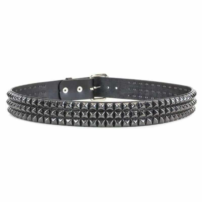Black Pyramid Studded Belt 3 Row