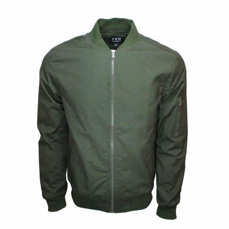 Olive Bomber Jacket with Side Zip Pocket