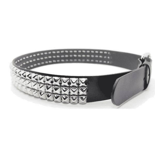 Pyramid Studded Leather Belt 3 Row