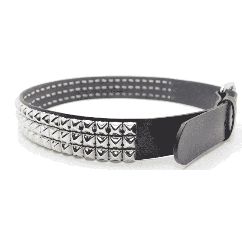 3 Row Pyramid Studded Leather Belt