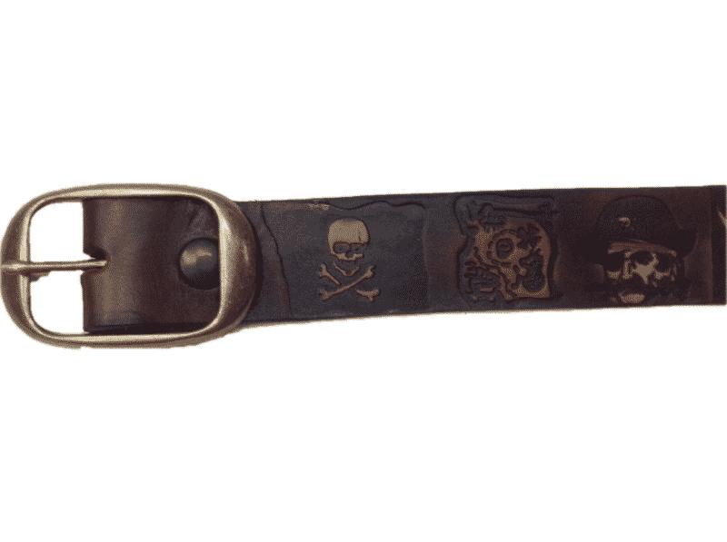 "Pirate Skull Embossed Dark Brown Full Grain Leather belt 1-1/2"" 2"