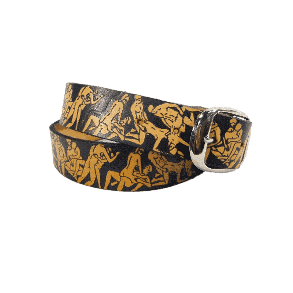 ORGY EMBOSSED BROWN LEATHER BELT 1