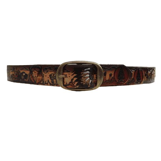 "Native American Embossed Dark Brown Full Grain Leather Belt 1-1/2"" 1"