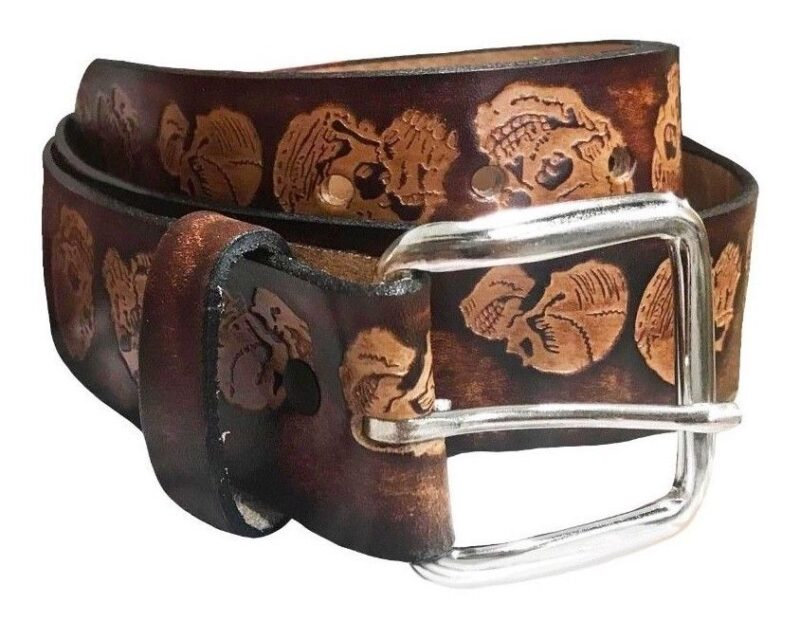 SKULL EMBOSSED BROWN LEATHER BELT 3