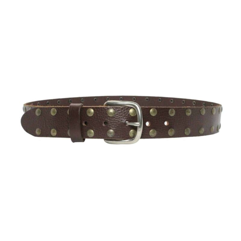 2 Row Brass Studded Brown Leather Belt 1