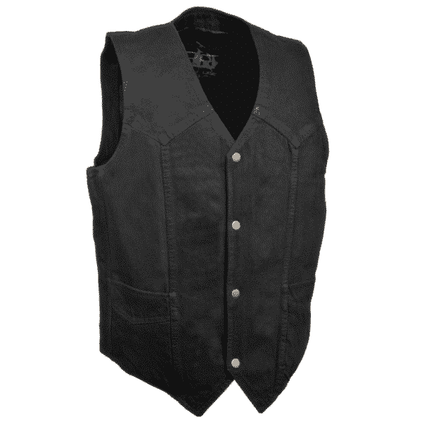 Plain Black Denim Vest by Milwaukee Leather