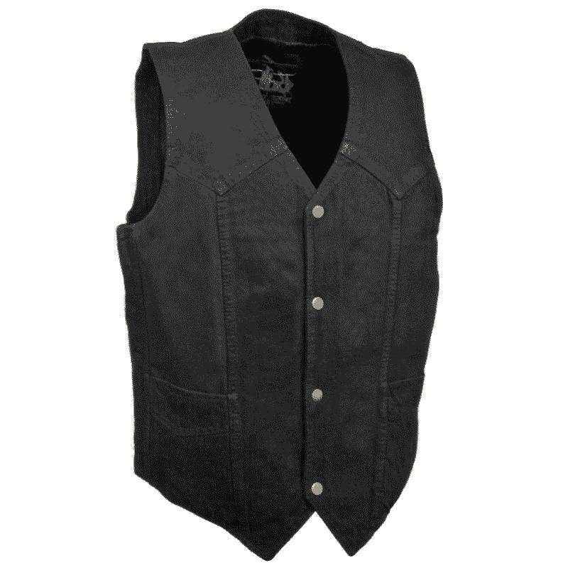 Black Denim Biker Vest without Collar