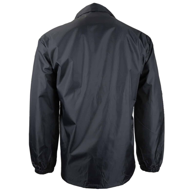 Black Nylon Windbreaker Jacket w/ Snap Front 1