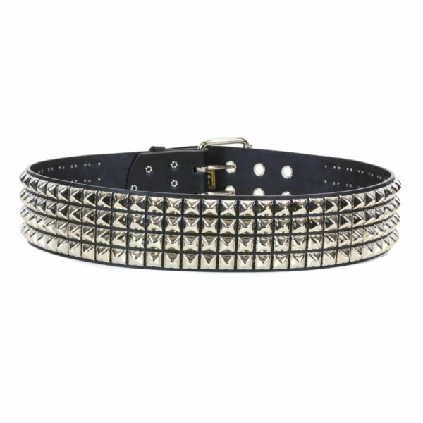 4 Row Pyramid Studded Leather Belt