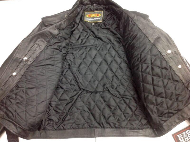 Black Buffalo Leather Belted Biker Jacket 3