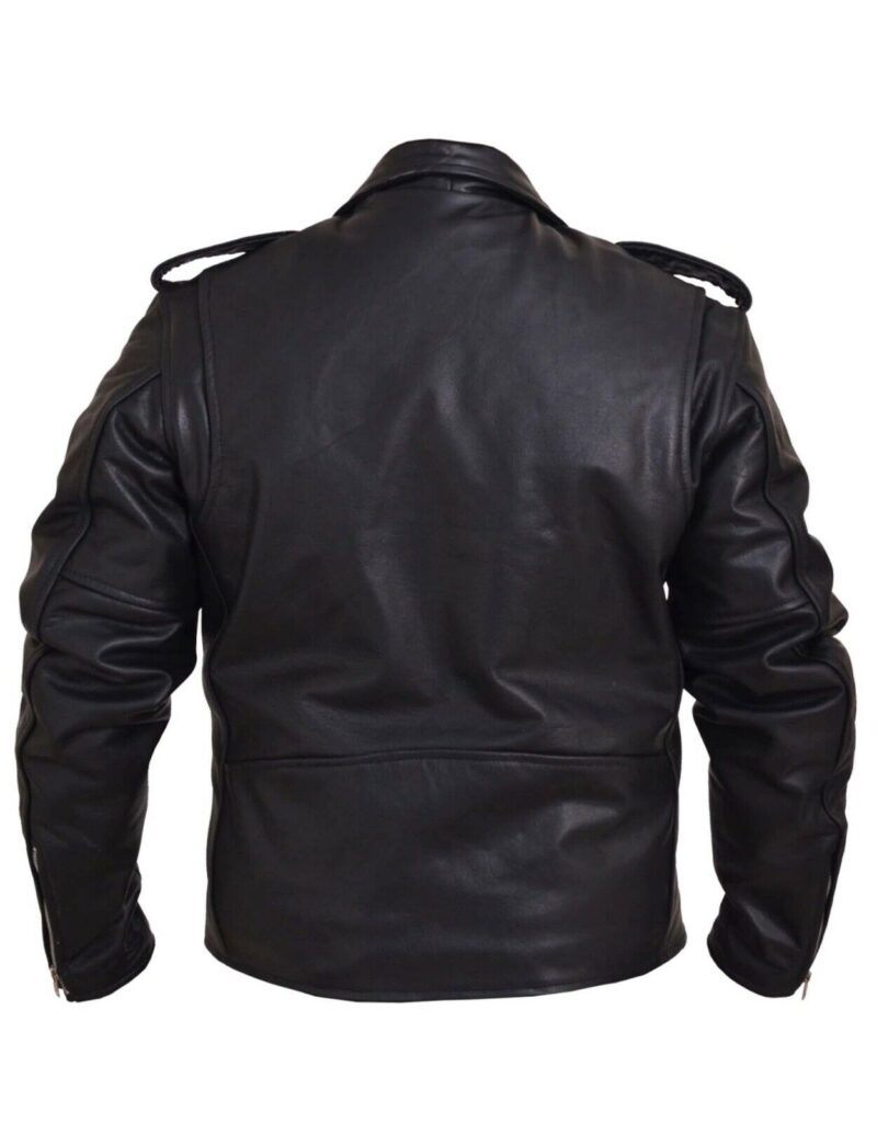 Black Buffalo Leather Belted Biker Jacket 4