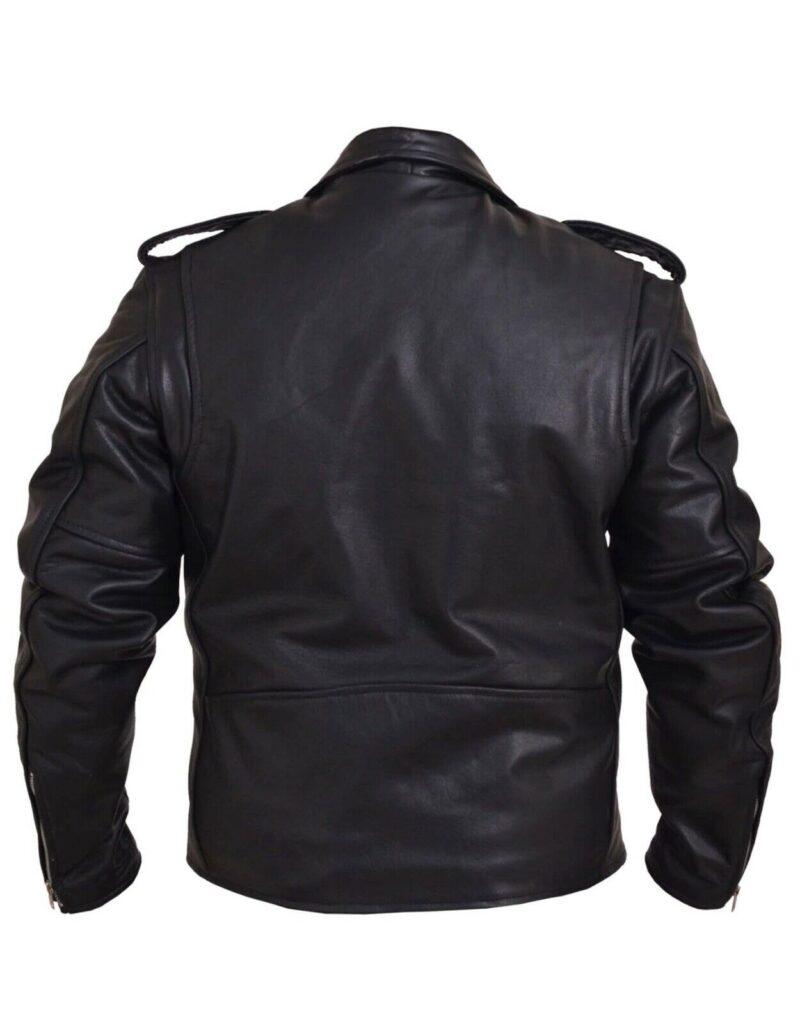 Black Buffalo Leather Belted Biker Jacket 1