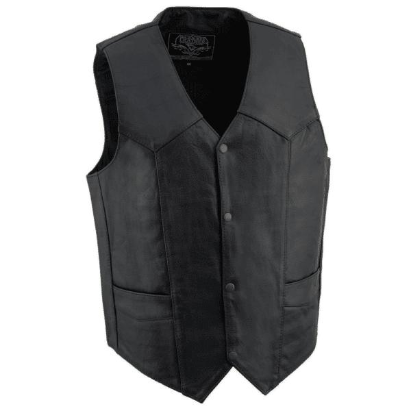 Plain Black Leather Vest