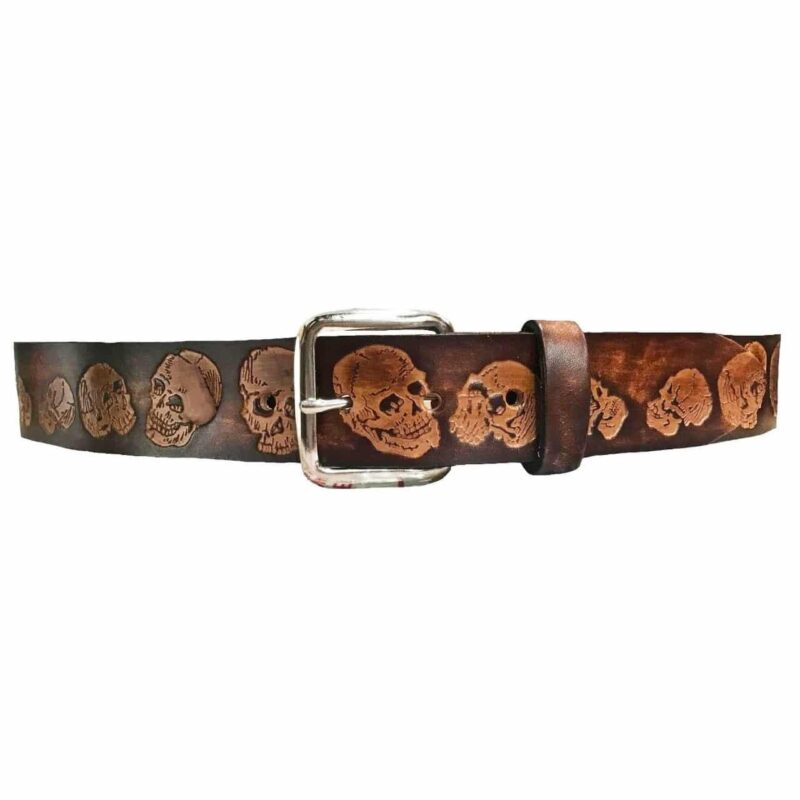 SKULL EMBOSSED BROWN LEATHER BELT 1