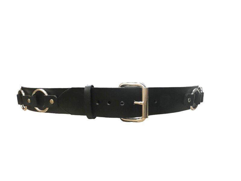 2 Row Silver Stud Black Leather Belt 3