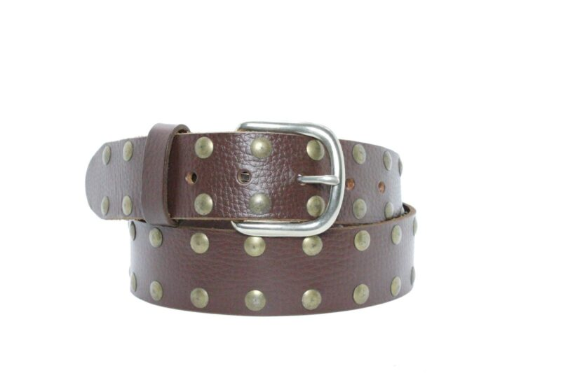 2 Row Brass Studded Brown Leather Belt 3