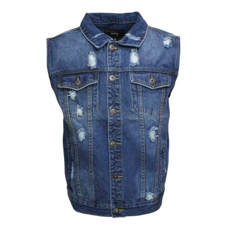 Blue Distressed Denim Vest