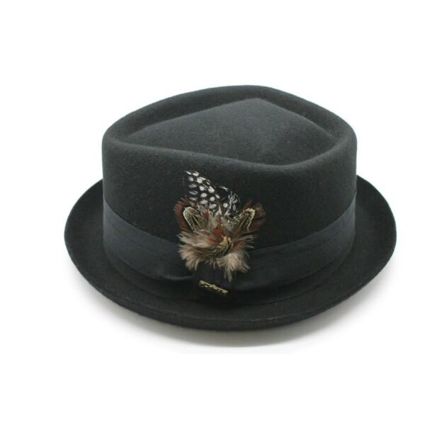 Wool Felt Diamond Crown Pork Pie Fedora
