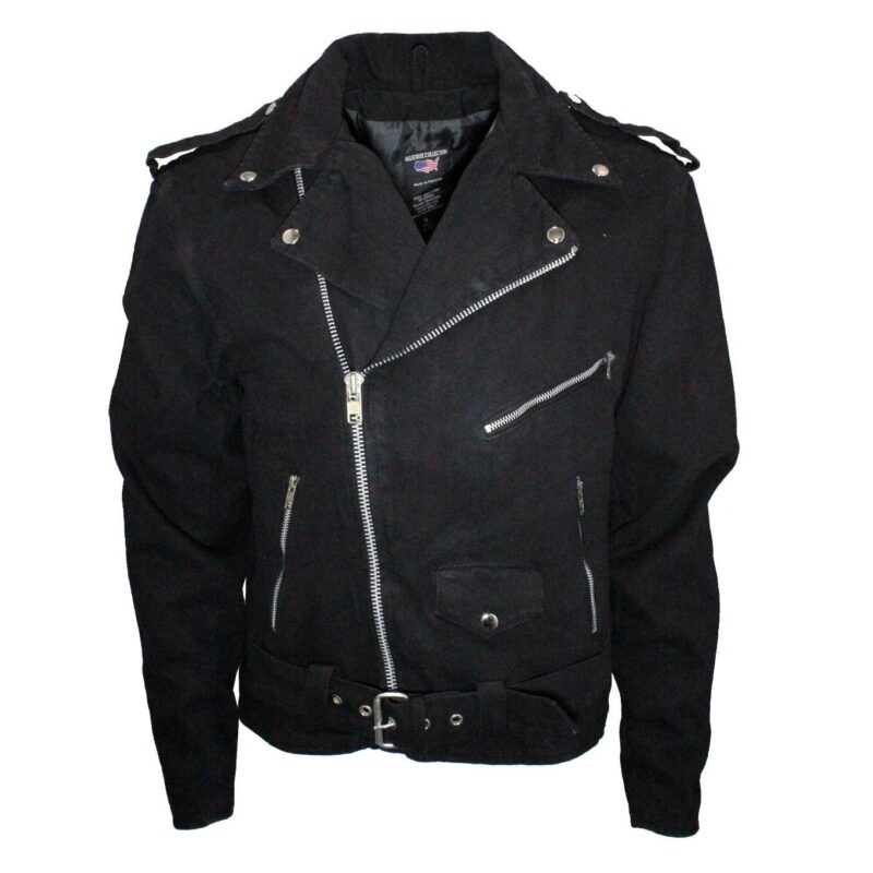 black denim biker jacket