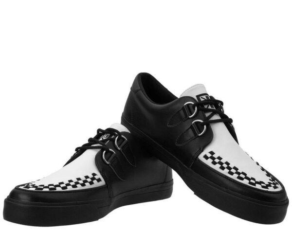 T.U.K Vlk D-ring Creeper Sneaker Unisex White Black Leather Creeper Shoes