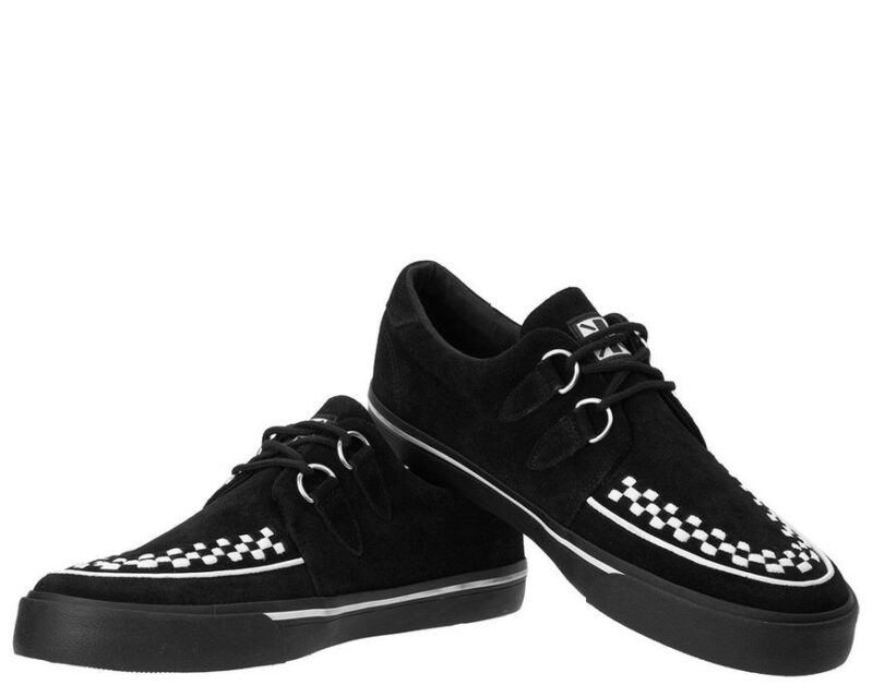 TUK Black and White Suede Sneaker Creeper A9182 1