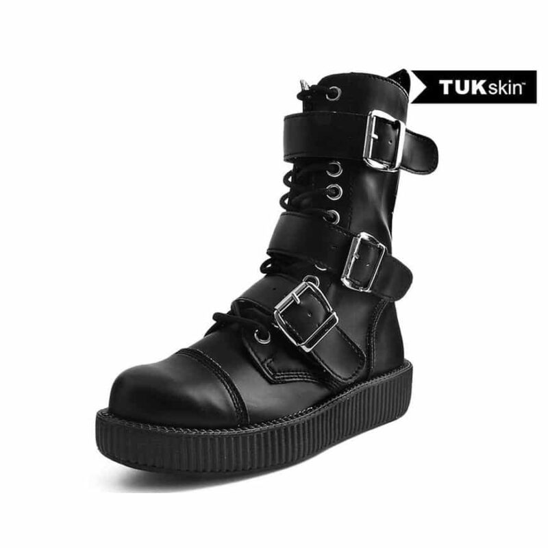 TUK Black 3 Buckle Low Sole Boot V9410
