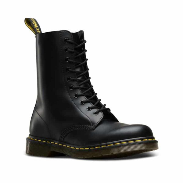 1490 Black Smooth 10-Eye Boot