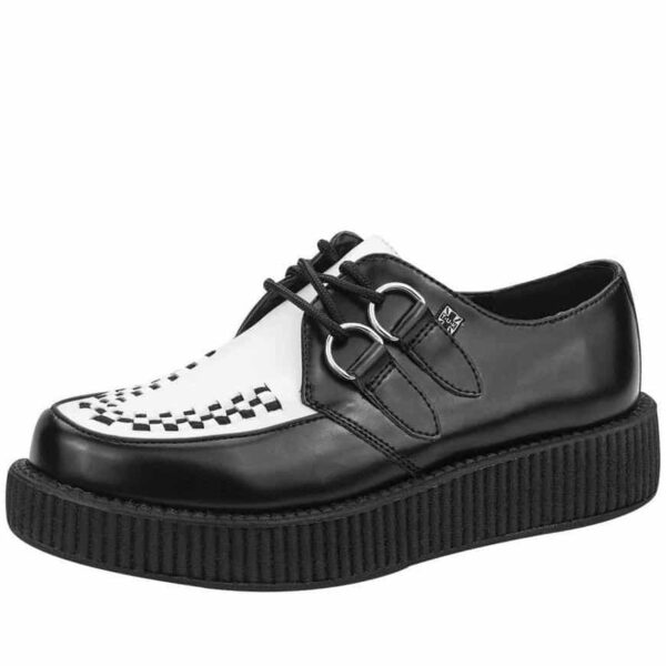 TUK Black and White Vegan Low Sole Creeper F9681