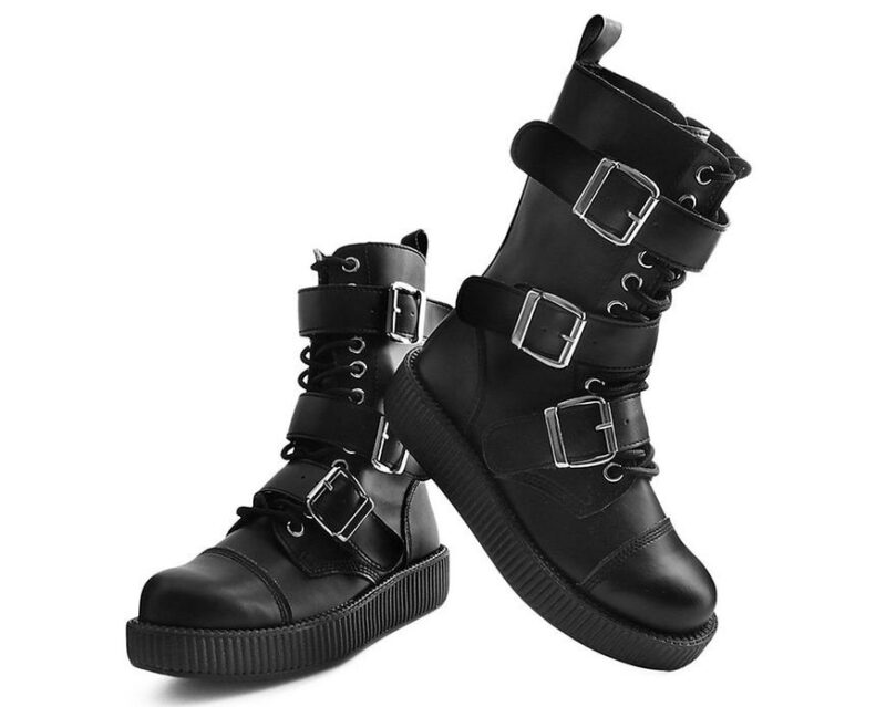 TUK Black 3 Buckle Low Sole Boot V9410 2