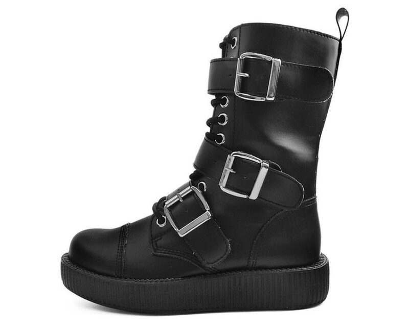 TUK Black 3 Buckle Low Sole Boot V9410 1