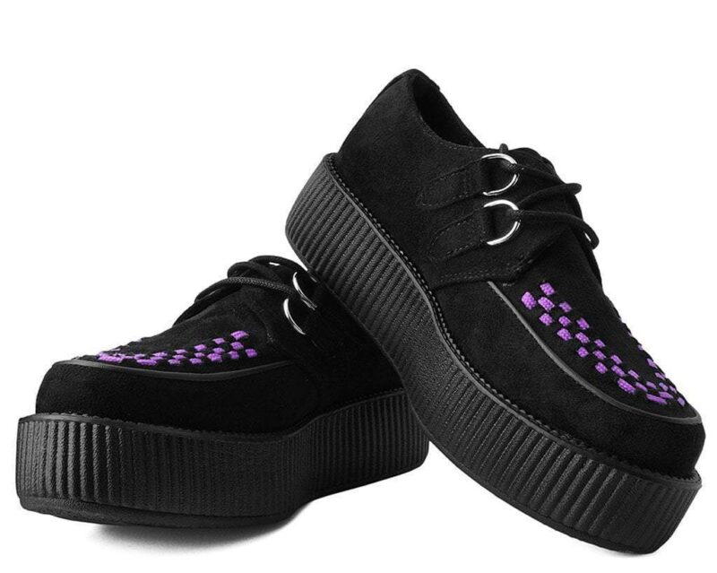 TUK Black and Purple Suede Mondo Creeper V9533 1