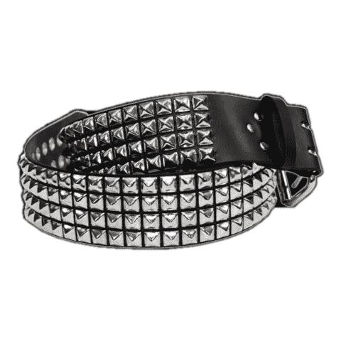Pyramid Studded Leather Belt 4 Row Black 1