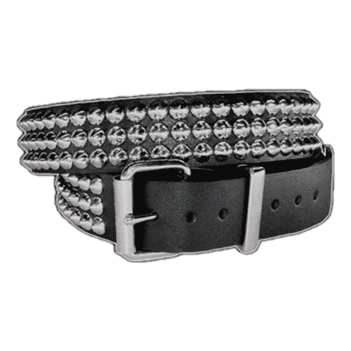 3 Row Silver Conical Studded Genuine Leather Belt 2
