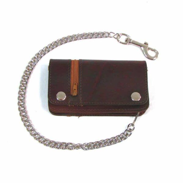Side Zipper Brown Wallet