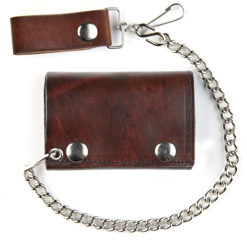 TRI-FOLD BIKER ANTIQUE FINISH LEATHER WALLET W/ CHAIN 1