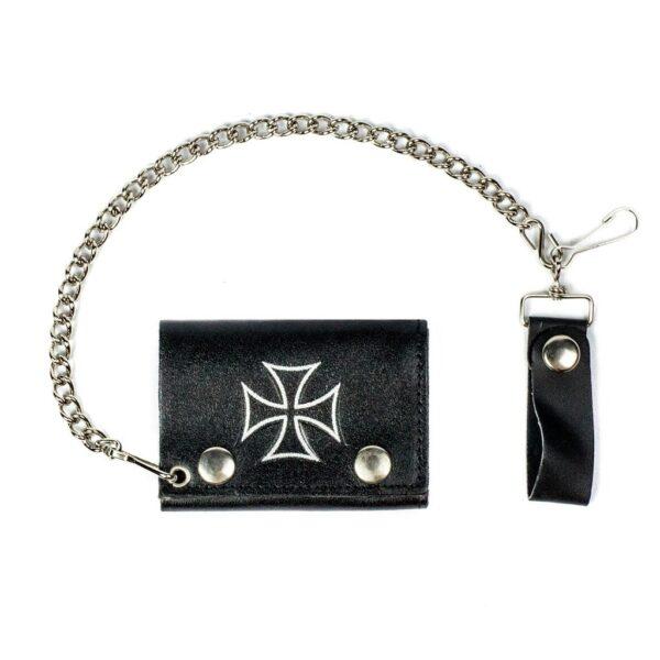 Iron Cross Tri-Fold Biker Wallet