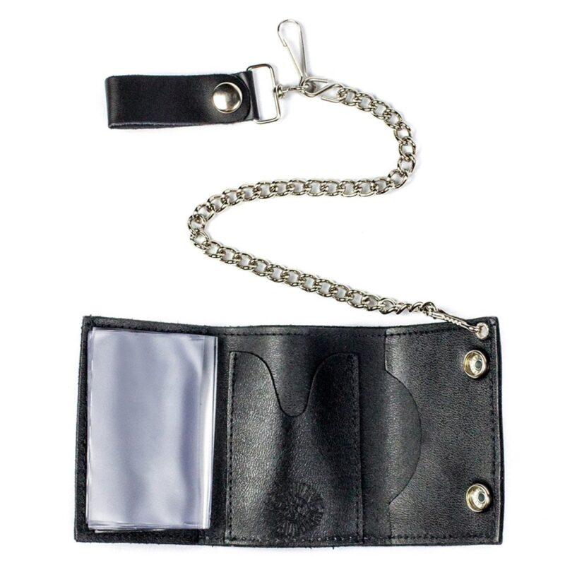 TRI-FOLD BIKER LEATHER WALLET W/ CHAIN BLACK AND WHITE CHECKERED 2