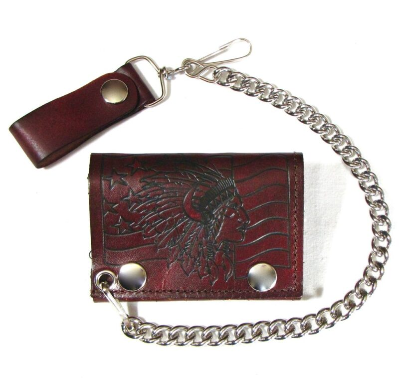 TRI-FOLD BIKER ANTIQUE FINISH LEATHER WALLET W/ CHAIN INDIAN CHIEF W/ FLAG 1