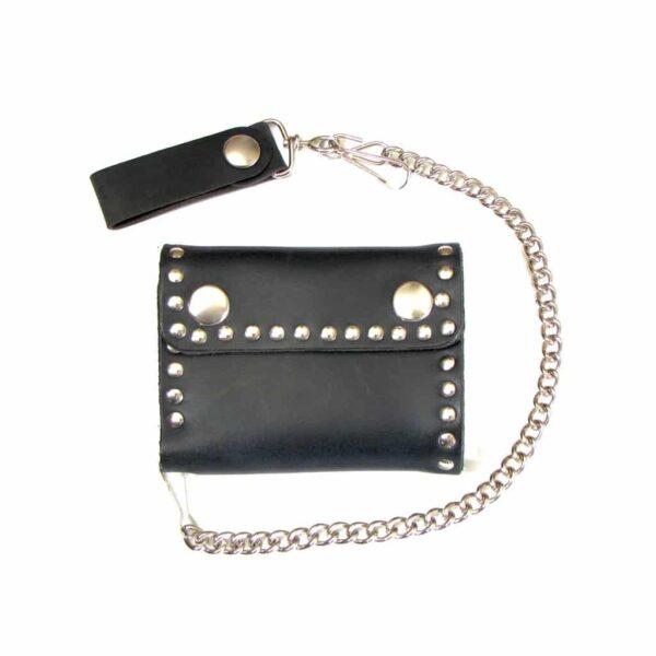 Studded Bi-Fold Leather Wallet