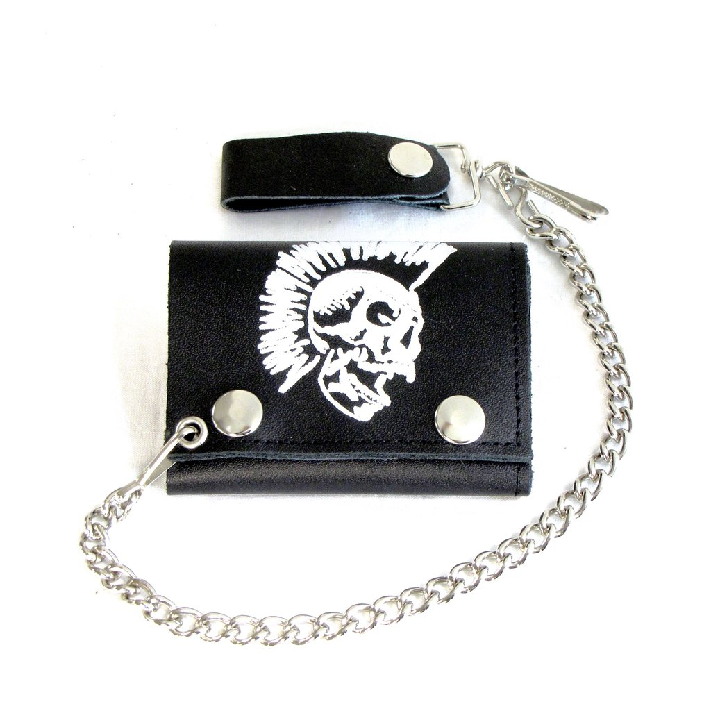 """Red Skull Tri-Fold Biker Chain Wallet With 12/"""" Chain Patent Leather"""