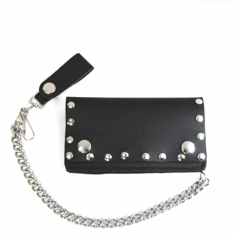 "6"" BI-FOLD BIKER BLACK LEATHER WALLET W/ CHAIN STUDDED 1"