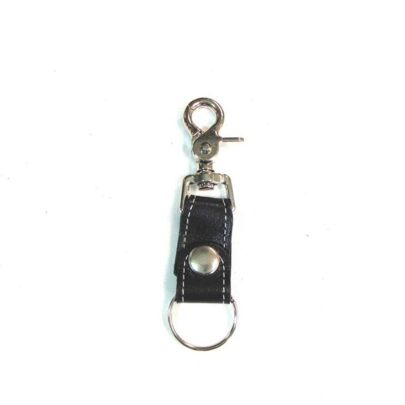 White Stitch Leather Key Fob w/ Claw Hook